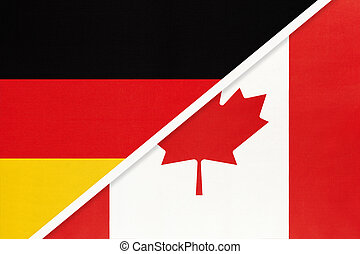 Germany vs Canada, symbol of two national flags. Relationship between european and american countries.