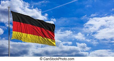 Germany waving flag on blue sky. 3d illustration