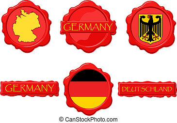 Germany wax stamps with flag, seal, map and name.