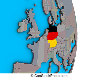Germany with flag on 3D globe