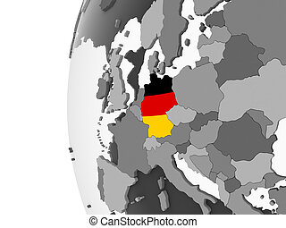 Germany with flag on globe