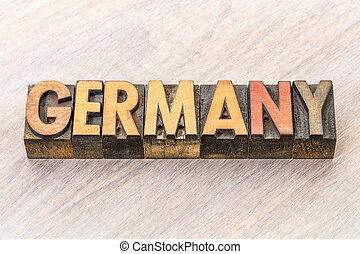 Germany word in vintage wood type