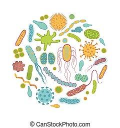 germes, isolado, bactérias, branca, ícones, experiência.