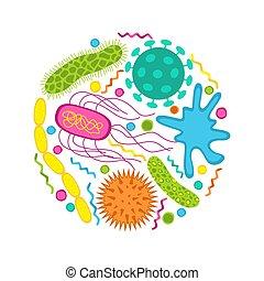 germi, isolato, set, batteri, bianco, colorito, icone, fondo...