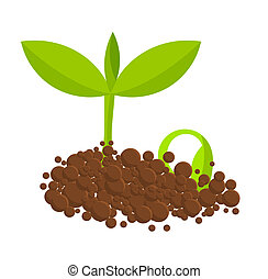 Germinal plants - Germinating plants from ground. Vector...