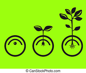vector silhouette of the germination of seeds on a green background