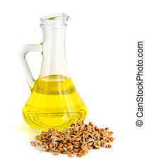 Germinated grains oil in a glass jug.