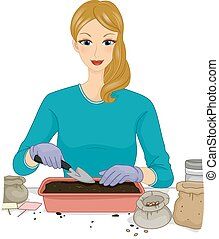 Germinating Seeds - Illustration of a Woman Transferring...