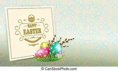 germogli, uova, silhouette, cornice, salice, luminoso, quadrato, ramo, pasqua, composizione
