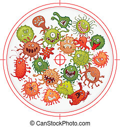 Germs and bacteria at gunpoint. Vector illustration. ...