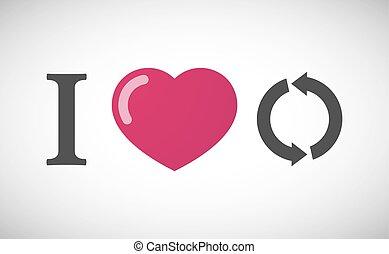 """geroglifico, love"""", """"i, segno, riciclare, rotondo"""