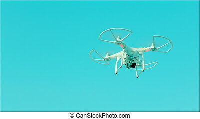 Gerokopter with camera flying in the sky - Clip of copter...