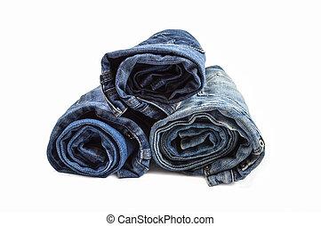 gerolde, jeans, stapel