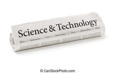 gerolde krant, met, de, kop, wetenschap en technologie