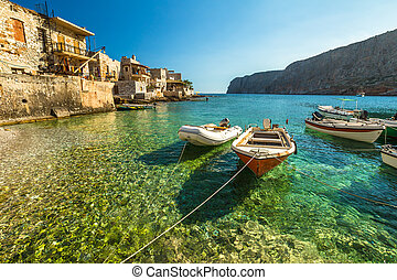 Gerolimenas Greece - Fishing boats in the clear tropical ...