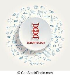 gerontology, doodle., ícones, specialties., ilustração, mão, vetorial, medicina, desenhado, concept., médico