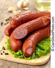 gerookt, sausages, heerlijk