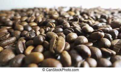 geroosterd, koffie bonen, geregen, in, een, heap.,...