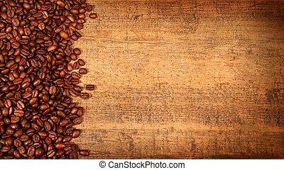 geroosterd, koffie bonen, op, rustiek, hout