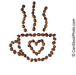 geroosterd, koffie, gemaakt, bonen, kop