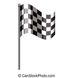 geruite vlag, pictogram, grijs, monochroom, stijl
