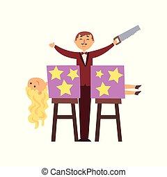 gesägt, hand., elegant, design, blond, säge, zeichen, zwei, lockenköpfig, klage, koerper, wohnung, box., assistent, halves., magier, karikatur, mann, magischer trick, vektor, woman.