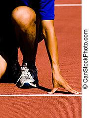 gesäumt, bereitend, für, rennen
