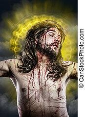 gesù cristo, con, uno, alone, di, dorato, luce, su, il, croce