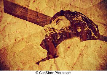 gesù cristo, portante, il, santo, croce, con, uno, retro,...