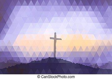 gesù, pasqua, cross., christ., scena, polygonal, design.