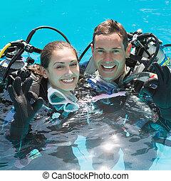 ges, piscina, pareja, escafandra autónoma, natación, ...