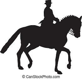gesammelt, pferd, silhouette, dressage, trab