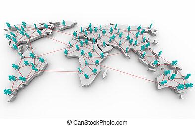 gesamt-netzwerk, von, leute
