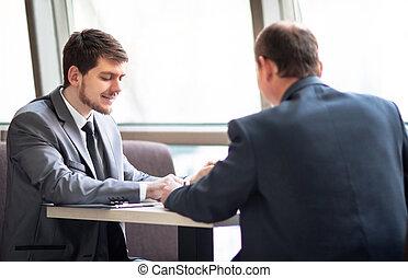 geschäft mannschaft, arbeitend zusammen, zu, erreichen, besser, ergebnisse