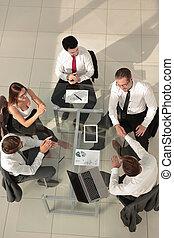 geschäft mannschaft, diskussion, versammlung, planung, begriff
