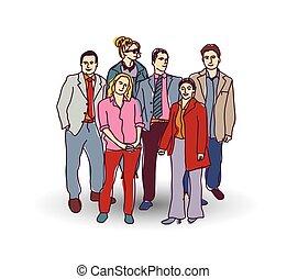 geschäft mannschaft, personengruppe, color.
