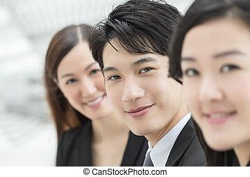 geschäft mannschaft, von, asiatisch