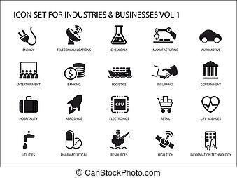 geschäfts-ikon, und, symbole, von, verschieden, industrien,...