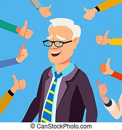 geschäftsbüro, weisen, auf, abbildung, gesture., geschäftsmann, daumen, vector., worker., professionell, zustimmung, respect., öffentlichkeit