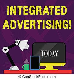 geschäftscomputer, vereinigt, schreibende, lamp., anordnung, erfahrung, integriert, tablette, verbraucher, nightshift, marke, advertising., arbeiter, wort, text, arbeitsbereich, interagieren, begriff