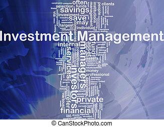geschäftsführung, begriff, investition, hintergrund