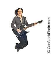 geschäftsführung, frau, springende , mit, gitarre