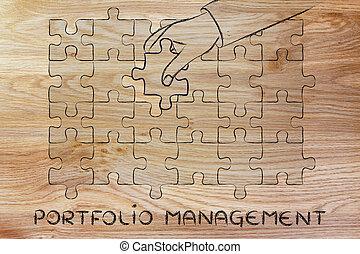 geschäftsführung, metapher, fehlend, vervollständigen, hand, stück, mappe, puzzel