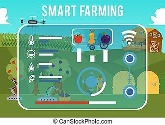 geschäftsführung, steuerung, informationen, vermessung, agriculture., drohnen, landwirtschaft, landwirtschaft., systeme, klug, robotics., landwirtschaftlich, präzision, technologien, (gps, daten, bauernhof, modern, bauernhoftiere, automation, agribots).