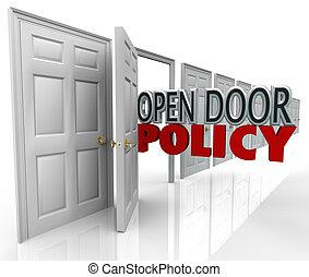 geschäftsführung, tür, kommunikation, herzlich willkommen, wörter, politik, rgeöffnete