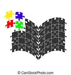 geschäftsfarbe, puzzel, abbildung, dein, buch, vektor, logo, design, bestand