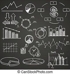 geschäftsfinanz, gekritzel, hand, gezeichnet, elemente, mit, alphabet, auf, blaues, hintergrund., begriff, -, analytics, arbeit, marketing, strategie