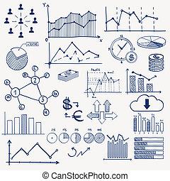 geschäftsfinanz, geschäftsführung, infographics, gekritzel, hand, ziehen, elements., begriff, -, schaubild, tabelle, torte, pfeile, zeichen & schilder, sozial, medien, verdienenden geld