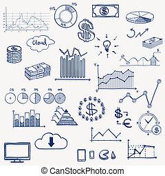 geschäftsfinanz, geschäftsführung, infographics, sozial, medien, gekritzel, hand, ziehen, elements., begriff, -, schaubild, tabelle, torte, pfeile, zeichen & schilder, verdienenden geld