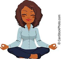 geschäftsfrau, amerikanische , joga, afrikanisch